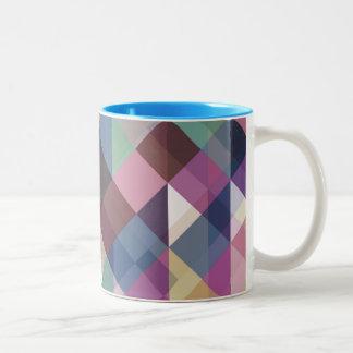 Caneca De Café Em Dois Tons Teste padrão geométrico colorido