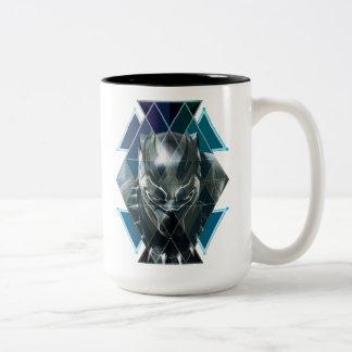 Caneca De Café Em Dois Tons Teste padrão geométrico preto do caráter da