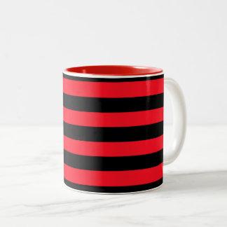 Caneca De Café Em Dois Tons Teste padrão listrado vermelho e preto Coloured