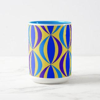 Caneca De Café Em Dois Tons Teste padrão retro azul