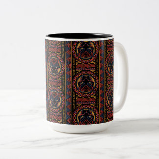 Caneca De Café Em Dois Tons Teste padrão tribal da cabeça da pantera da