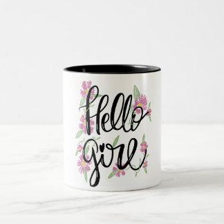 Caneca De Café Em Dois Tons Texto baseado num guião tipográfico floral da