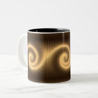 Caneca De Café Em Dois Tons textura espiral dourada abstrata