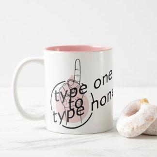 Caneca De Café Em Dois Tons Tipo um para datilografar a nenhuns - o diabético