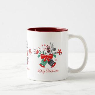 Caneca De Café Em Dois Tons Tipografia do Feliz Natal do buquê de Bels de