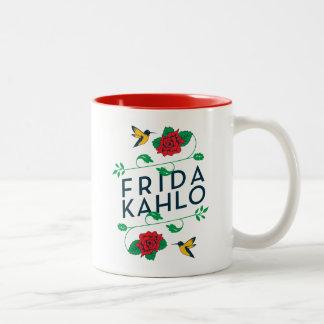 Caneca De Café Em Dois Tons Tipografia floral de Frida Kahlo |