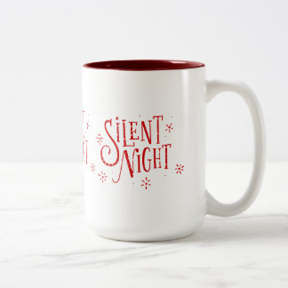 Caneca De Café Em Dois Tons Tipografia moderna do Natal das noites silenciosas