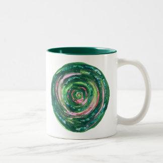 Caneca De Café Em Dois Tons trabalhos de arte verde-cor-de-rosa #2 de