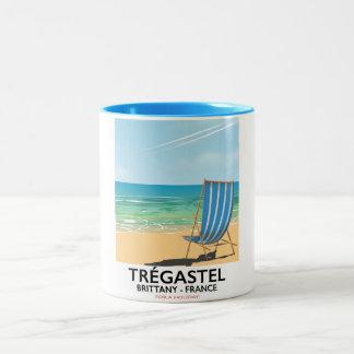 Caneca De Café Em Dois Tons Trégastel, poster de viagens da praia de Brittany