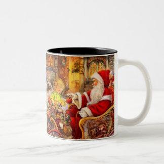 Caneca De Café Em Dois Tons Trenó do papai noel - ilustração de Papai Noel