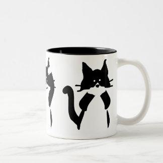 Caneca De Café Em Dois Tons Três gatinhos sábios