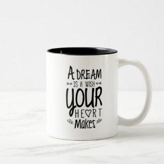 Caneca De Café Em Dois Tons Um sonho é um desejo que seu coração faz -