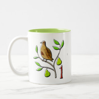 Caneca De Café Em Dois Tons Uma perdiz em uma árvore de pera