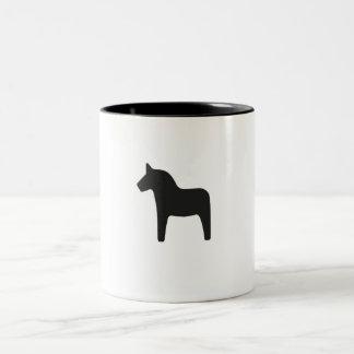 Caneca De Café Em Dois Tons Único cavalo preto de Dala