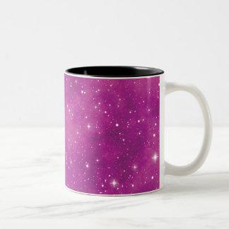 Caneca De Café Em Dois Tons Universo cor-de-rosa e roxo da arte abstracta
