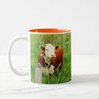 Caneca De Café Em Dois Tons Vaca curiosa bonito 4Mal