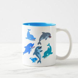 Caneca De Café Em Dois Tons Vagem bonito do golfinho dos desenhos animados