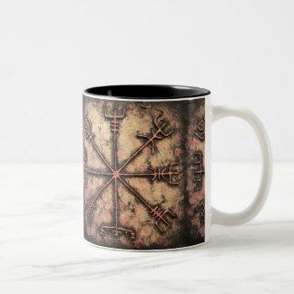 Caneca De Café Em Dois Tons Vegvisir, rune de Viking, período do Rune