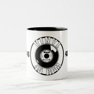 Caneca De Café Em Dois Tons Vinil 45 preto & branco