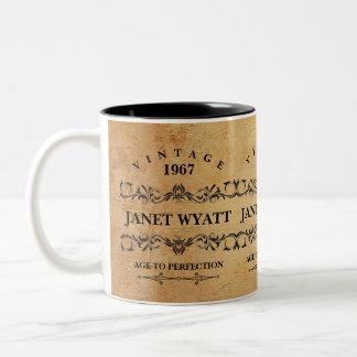 Caneca De Café Em Dois Tons Vintage algum aniversário da idade