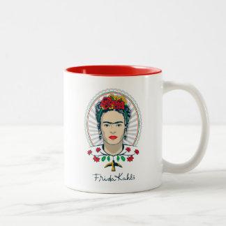 Caneca De Café Em Dois Tons Vintage de Frida Kahlo | floral