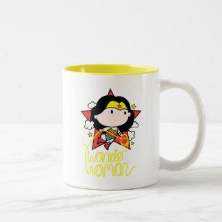 Caneca De Café Em Dois Tons Vôo da mulher maravilha de Chibi com laço