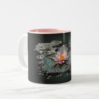 Caneca De Café Em Dois Tons Water Lily - Lotus flor, rosa de lago no estanque