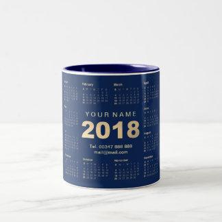 Caneca De Café Em Dois Tons Web 2018 azul do endereço do nome do marinho do