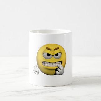 Caneca De Café Emoticon irritado amarelo ou smiley