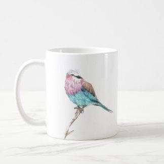 Caneca de café empoleirando-se azul & cor-de-rosa