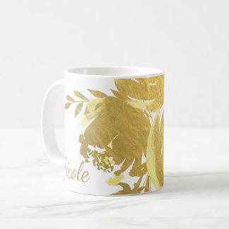 Caneca De Café Encanto floral moderno elegante da folha do falso
