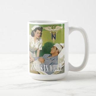 Caneca De Café Enfermeiras das forças armadas - anjos no copo de