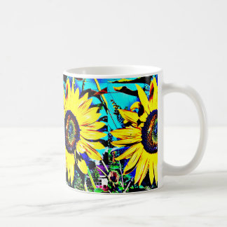 Caneca de café ensolarada brilhante do girassol