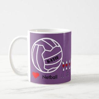 Caneca De Café Equipe personalizada do Netball do amor e design