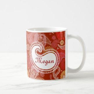 Caneca De Café Escarlate vermelho de paisley