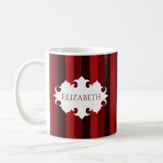 Caneca De Café Escuro - nome listrado do Natal vermelho
