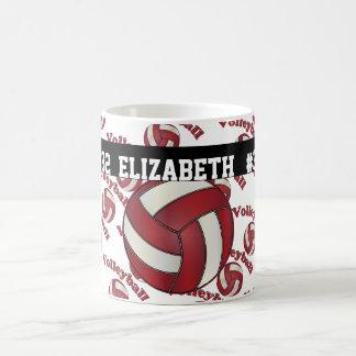 Caneca De Café Escuro - o voleibol vermelho | personaliza