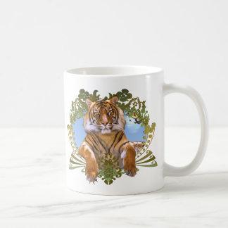 Caneca De Café Espécie em vias de extinção da crista do tigre
