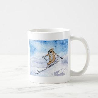 Caneca De Café Esqui do cão do Corgi de Galês