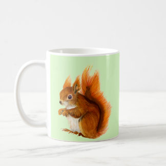 Caneca De Café Esquilo vermelho pintado na arte dos animais