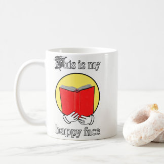 Caneca De Café Esta é minha cara feliz - Emoji que lê um livro