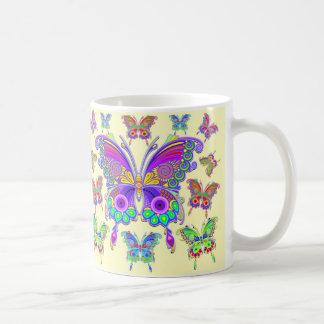Caneca De Café Estilo colorido do tatuagem da borboleta