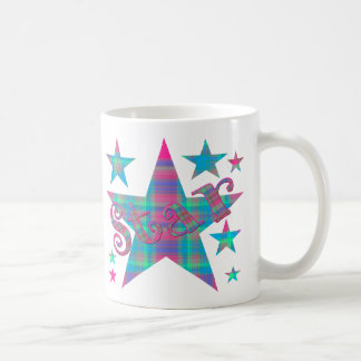 Caneca De Café Estrela azul e verde cor-de-rosa da xadrez