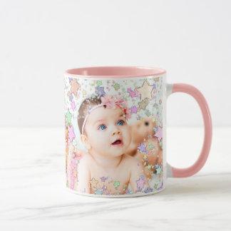 Caneca de café estrelado personalizada do rosa da