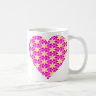 Caneca De Café Estrelas amarelas e coração cor-de-rosa