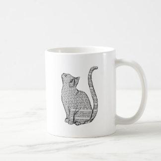 Caneca De Café etiqueta do livro de leitura do gato
