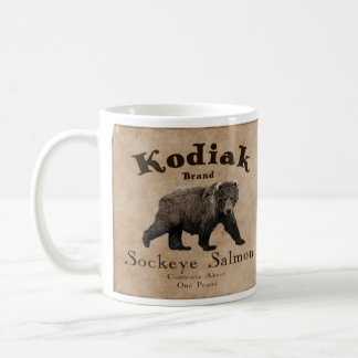 Caneca De Café Etiqueta dos salmões do Kodiak do vintage