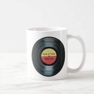 Caneca De Café Etiqueta preta Drinkware do registro da música do