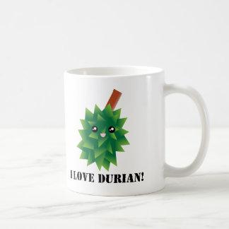 Caneca De Café Eu amo a fruta Manga de Kawaii do Durian