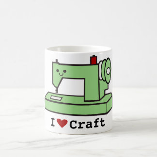 Caneca De Café Eu amo a máquina de costura de Kawaii do ofício